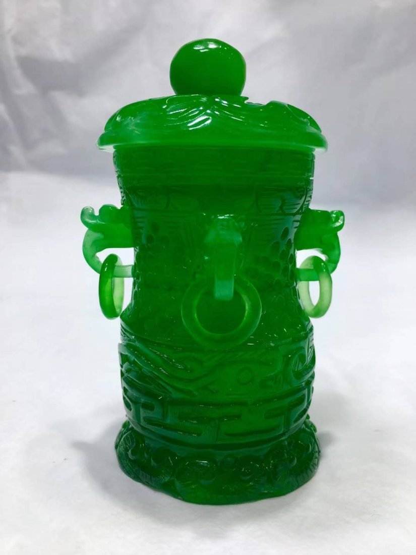Emerald Jade carving smoked stove - 4