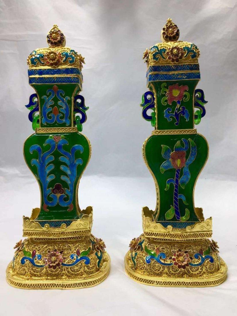 Emerald Jade Silver gilt filigree vase