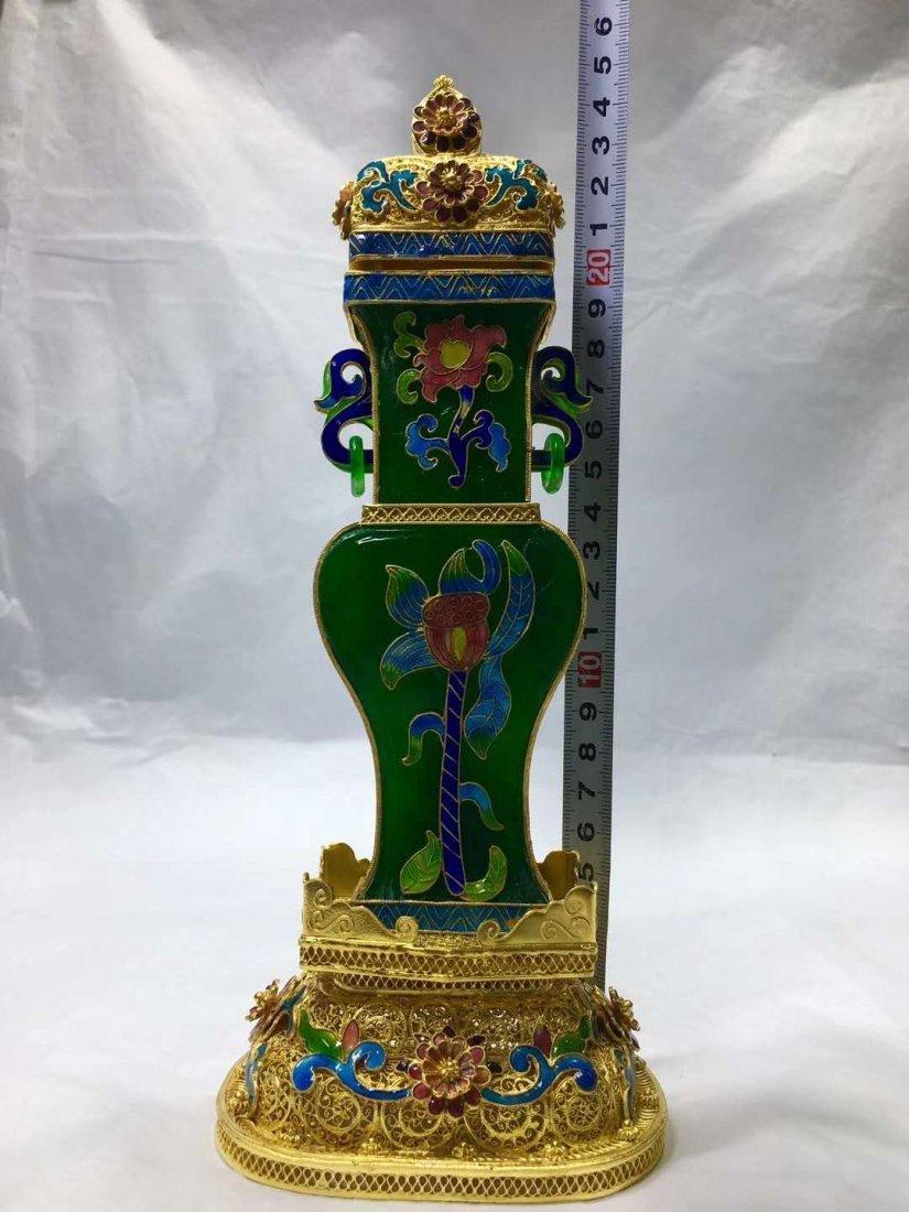 Emerald Jade Silver gilt filigree vase - 3
