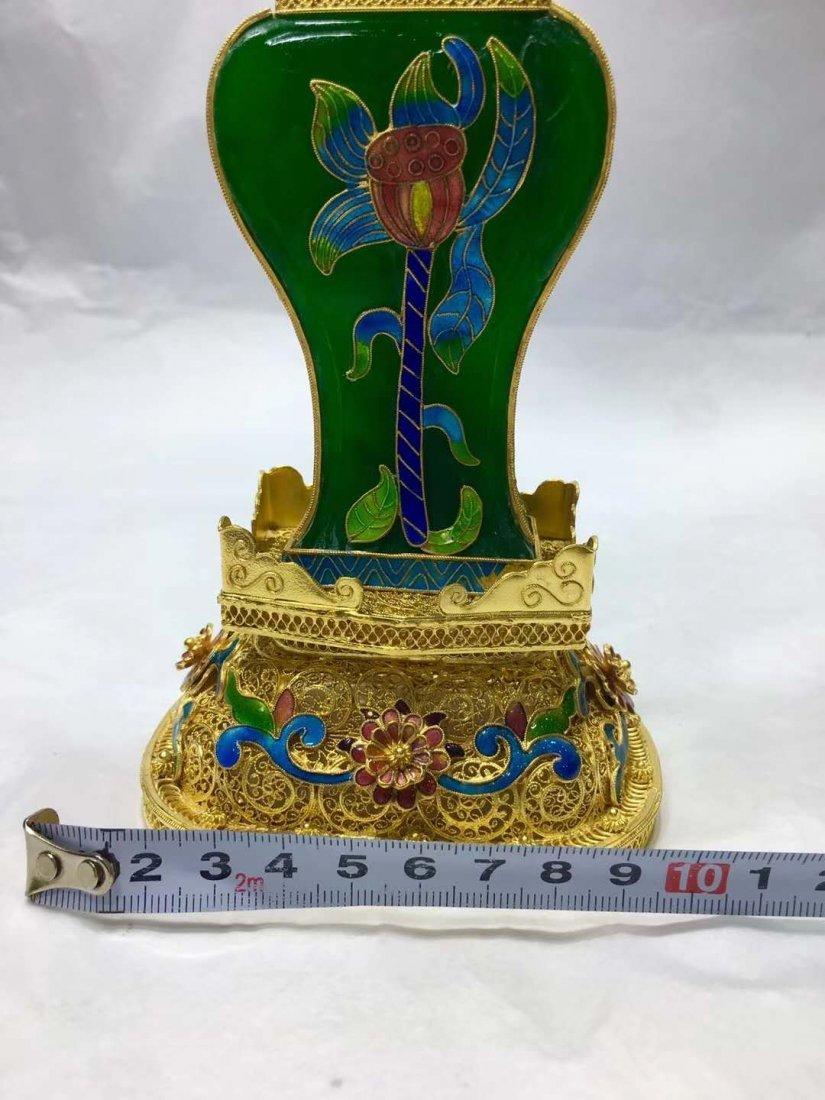 Emerald Jade Silver gilt filigree vase - 4