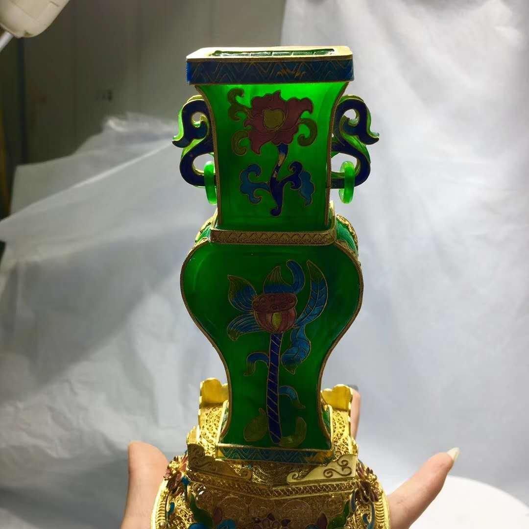 Emerald Jade Silver gilt filigree vase - 6