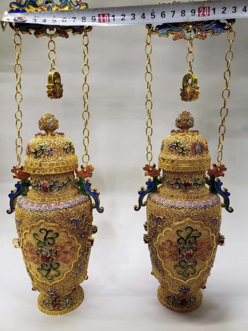 Qing dynasty Silver wire gold hanging bottle