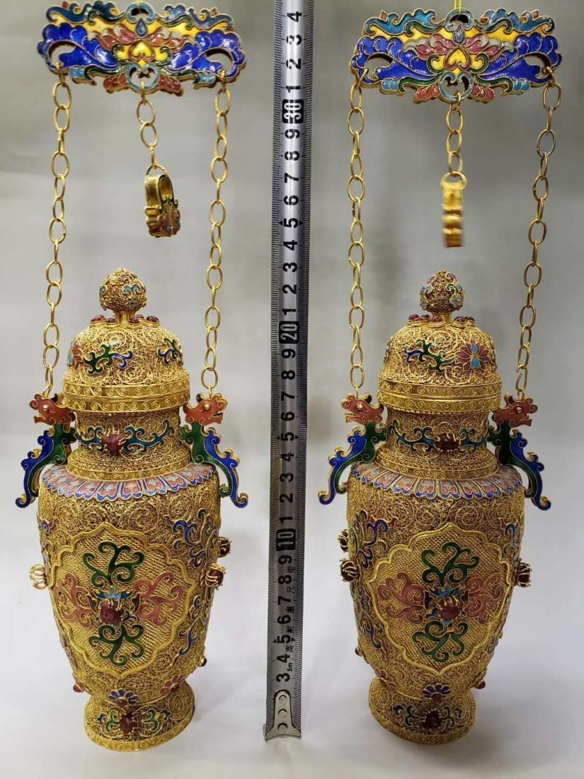 Qing dynasty Silver wire gold hanging bottle - 2