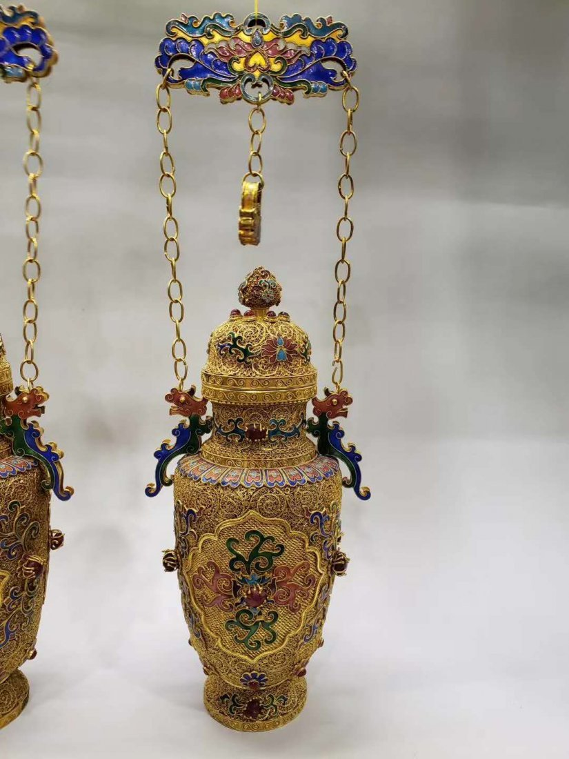 Qing dynasty Silver wire gold hanging bottle - 3