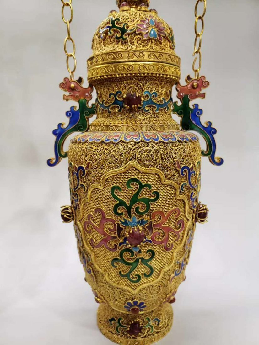Qing dynasty Silver wire gold hanging bottle - 7