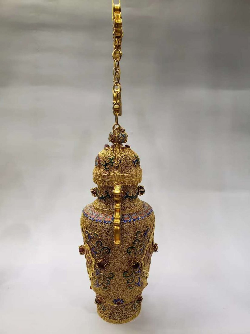 Qing dynasty Silver wire gold hanging bottle - 8