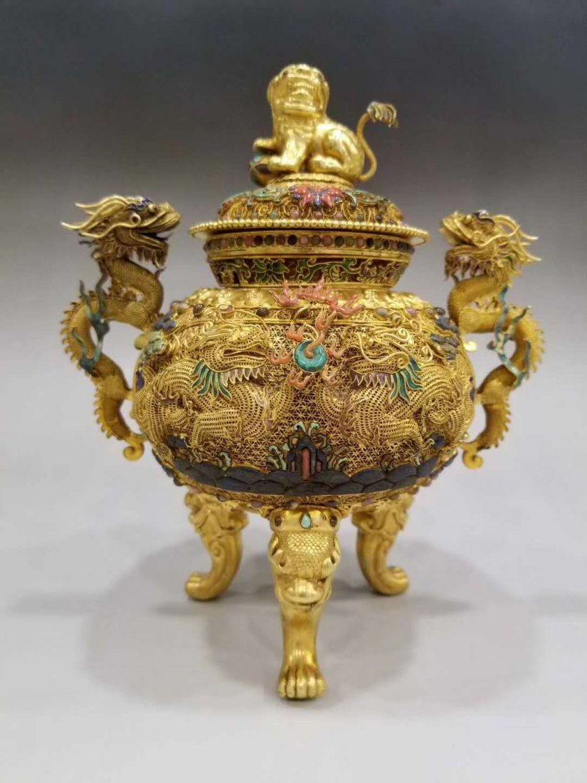 Qing Pure gold filigree double dragon smoked