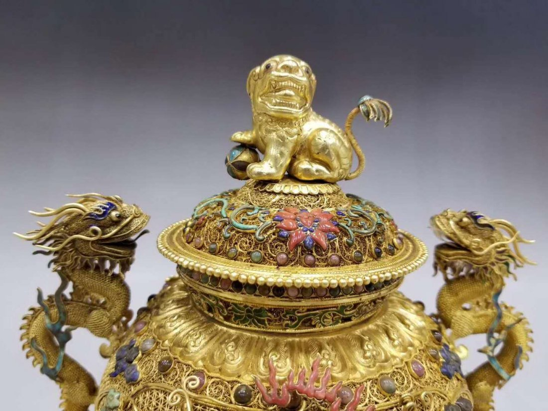 Qing Pure gold filigree double dragon smoked - 2