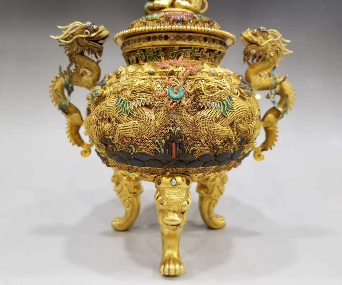 Qing Pure gold filigree double dragon smoked - 3