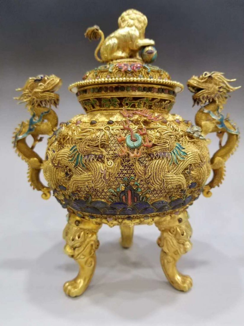 Qing Pure gold filigree double dragon smoked - 4