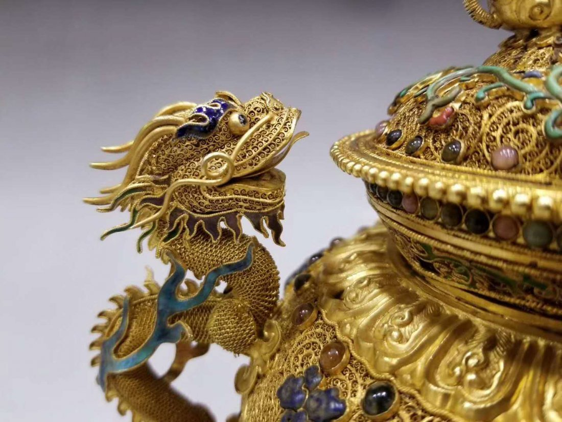 Qing Pure gold filigree double dragon smoked - 6