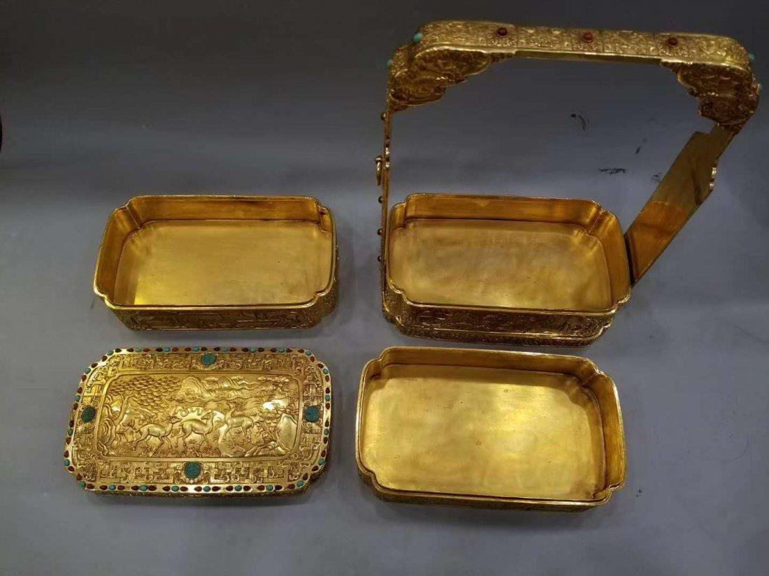 Qing Copper gilt Food box - 2