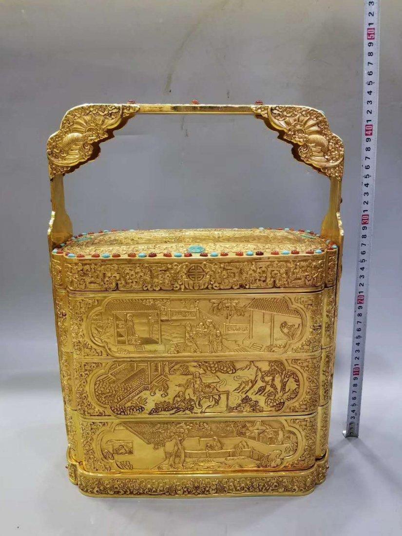 Qing Copper gilt Food box - 3