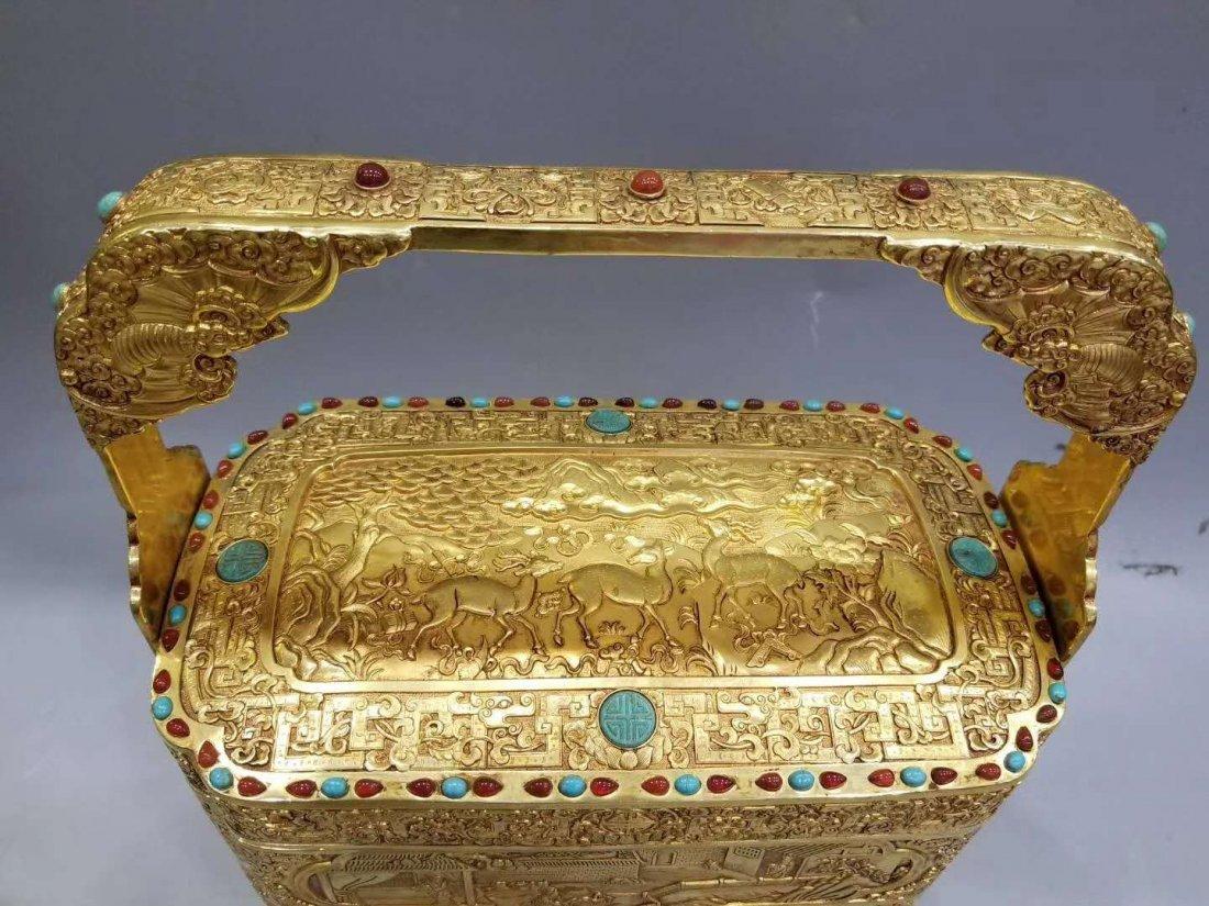 Qing Copper gilt Food box - 4
