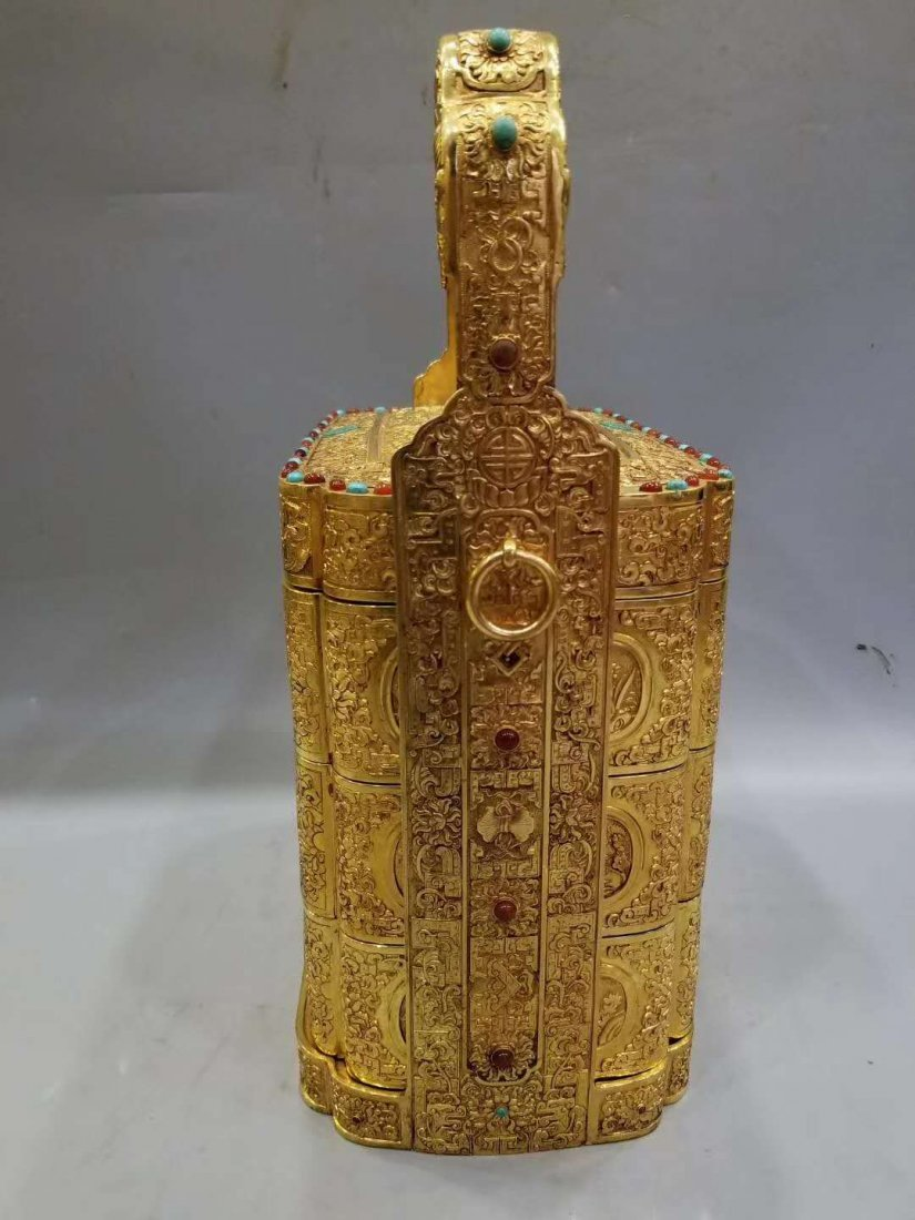Qing Copper gilt Food box - 6