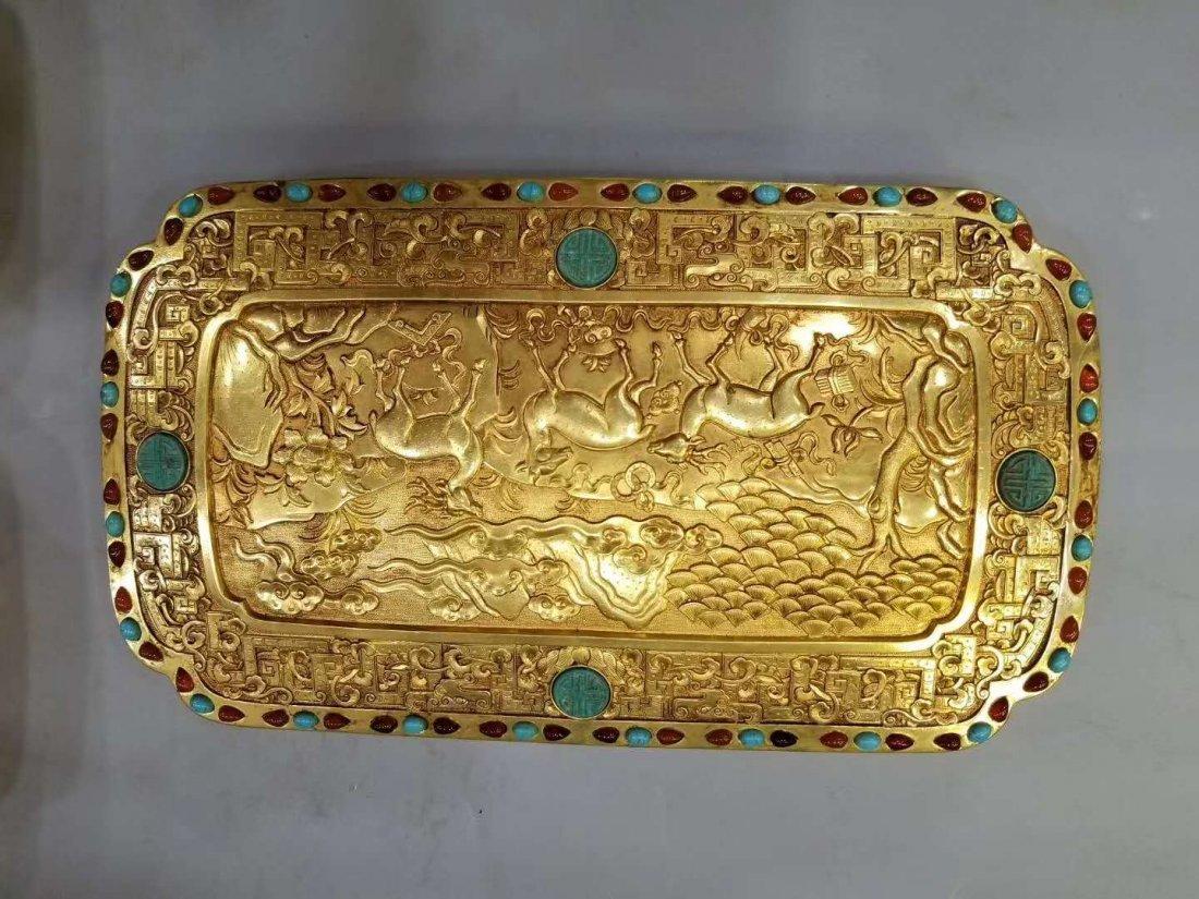 Qing Copper gilt Food box - 9