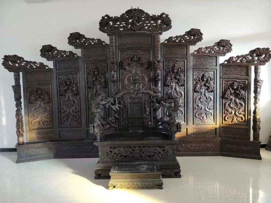 Qing Lobular rosewood screen wind throne - 3