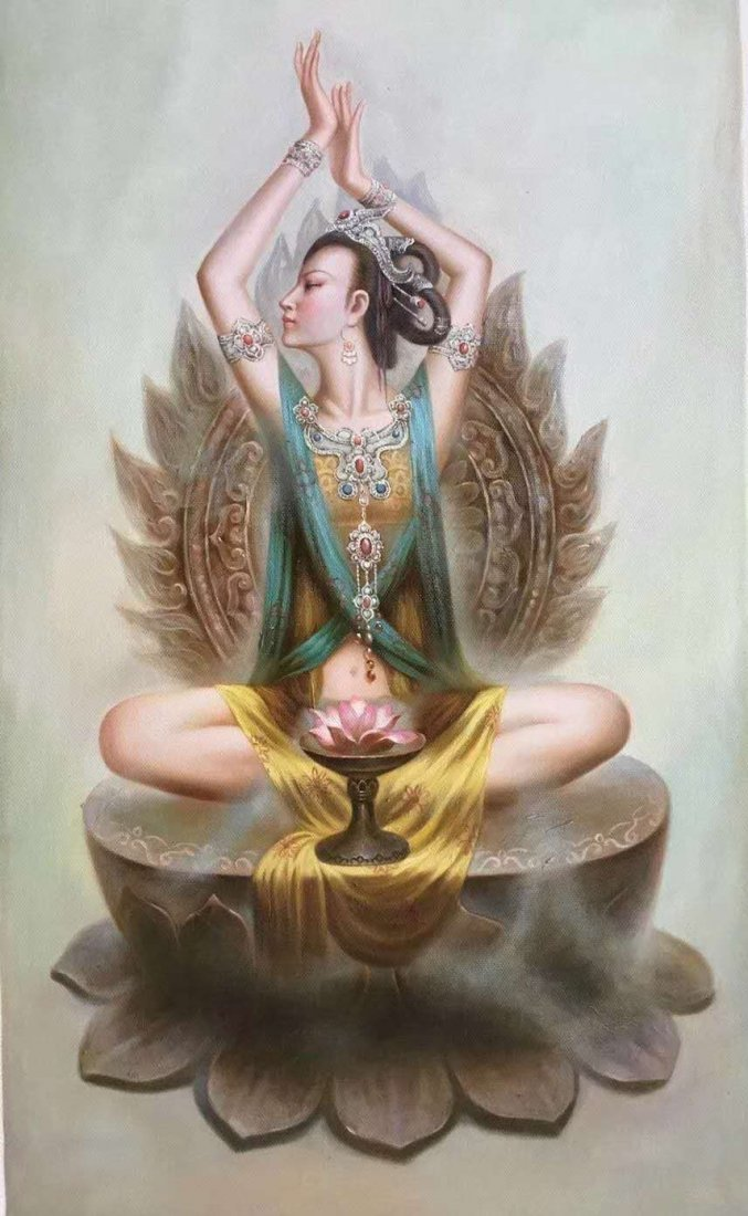 Dunhuang goddess oil painting