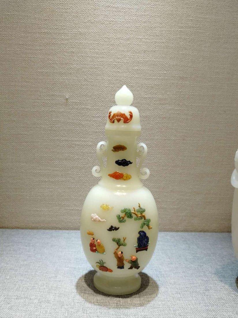 Qing dynasty Hetian White jade bottle - 2