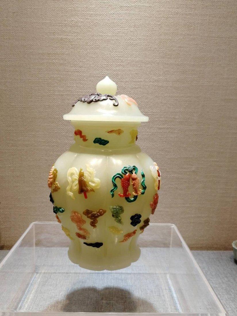 Qing dynasty Hetian White jade bottle