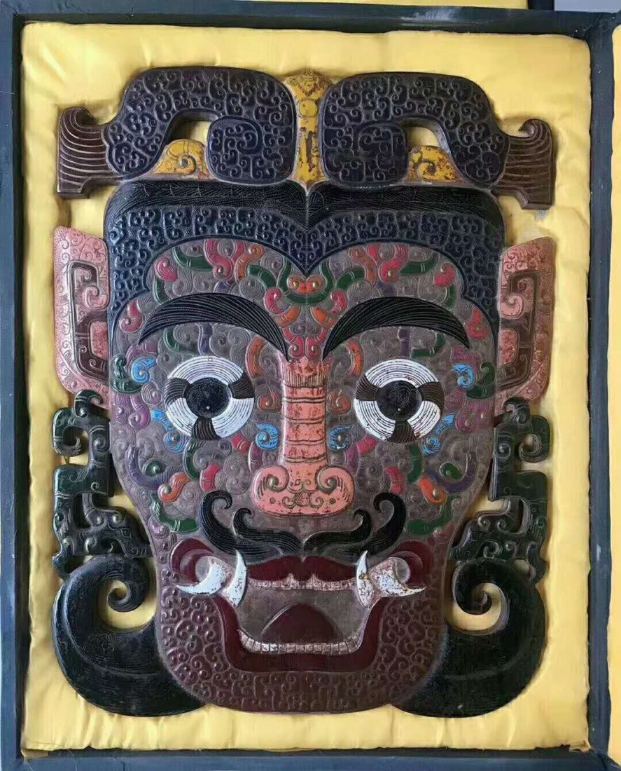 Hetian White jade Painted mask - 2