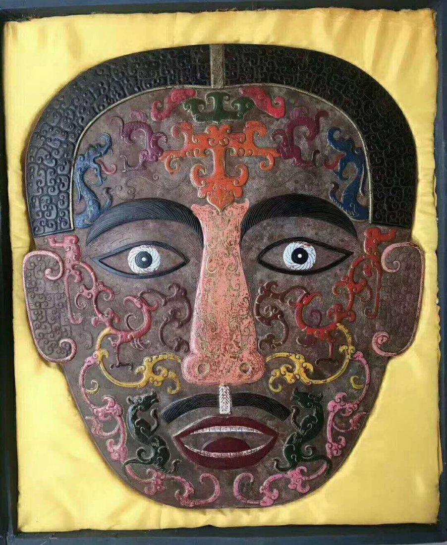 Hetian White jade Painted mask - 3