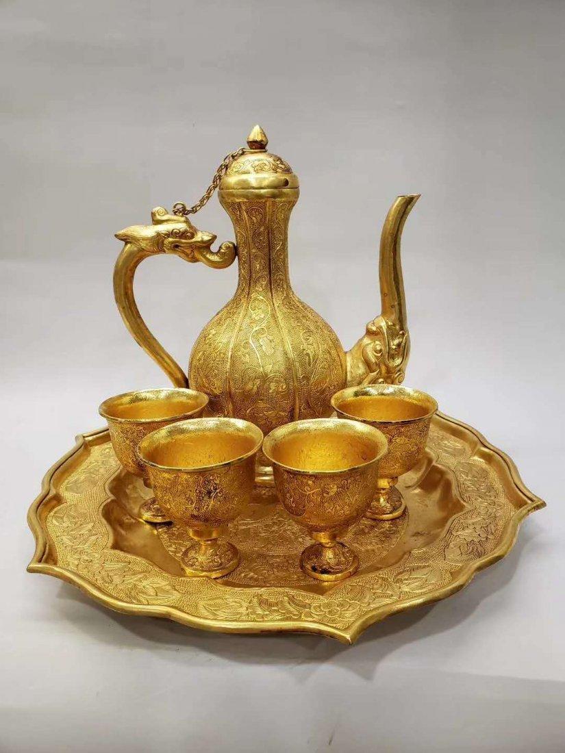 Qing dynasty Copper gilt flask