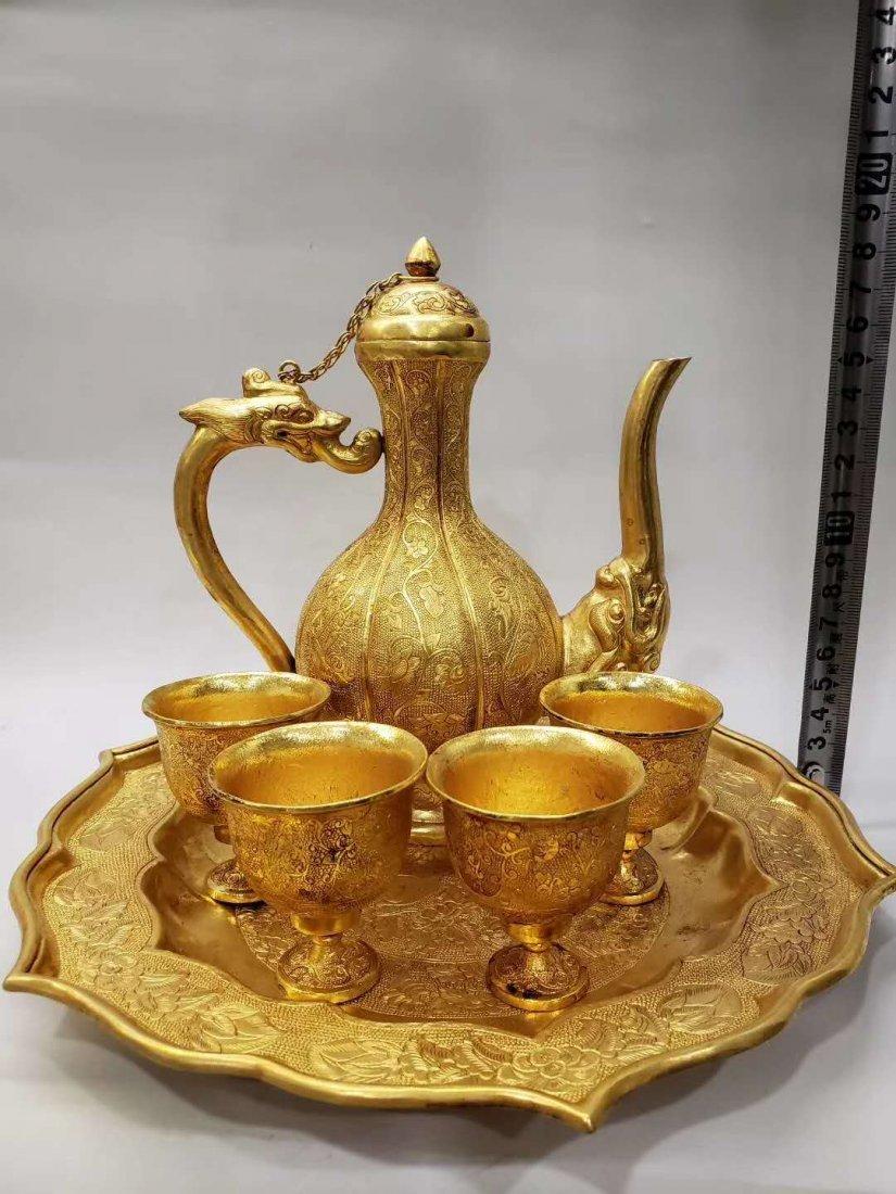 Qing dynasty Copper gilt flask - 2