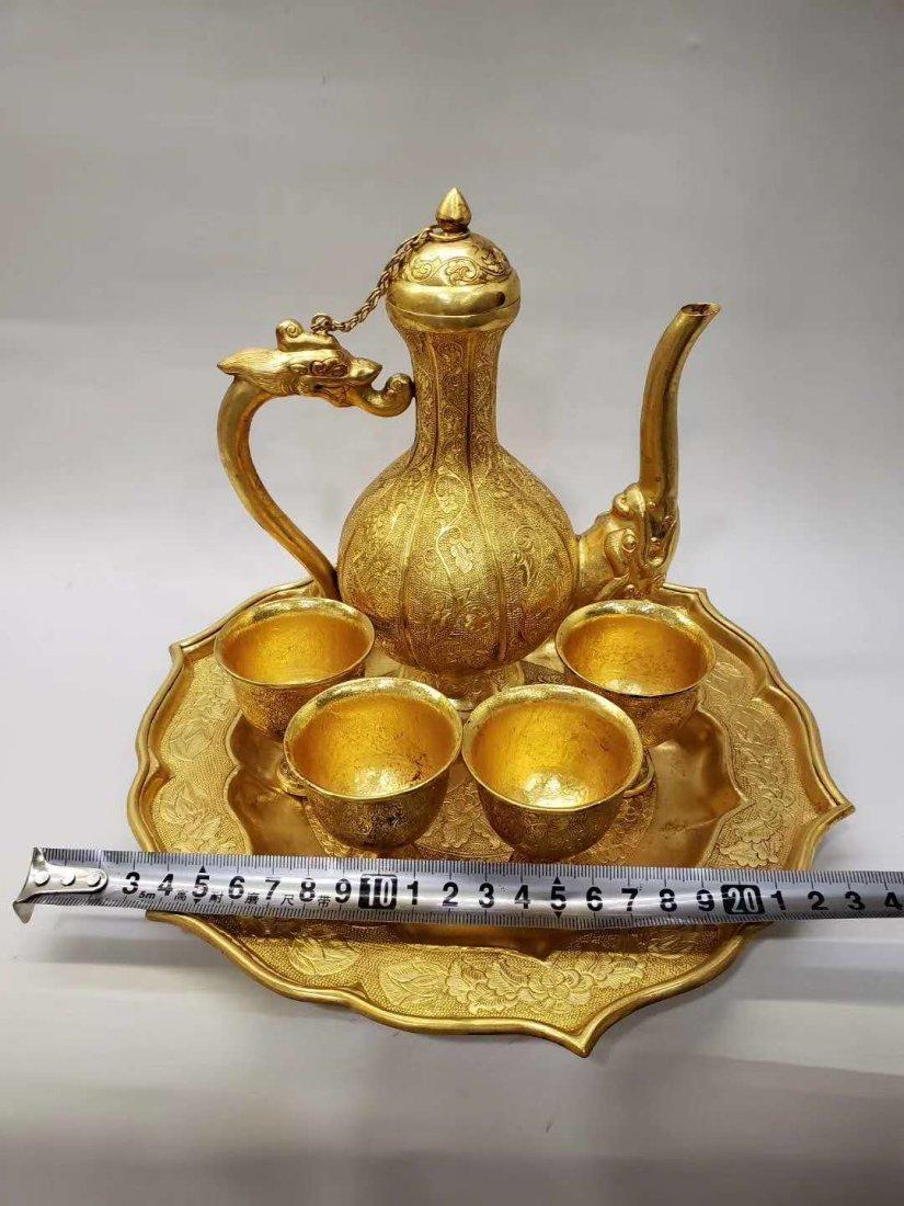 Qing dynasty Copper gilt flask - 3