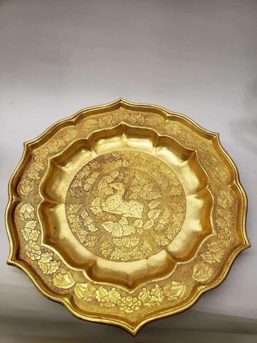 Qing dynasty Copper gilt flask - 4