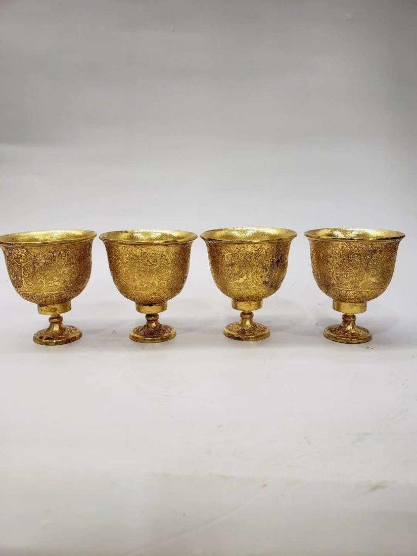 Qing dynasty Copper gilt flask - 6