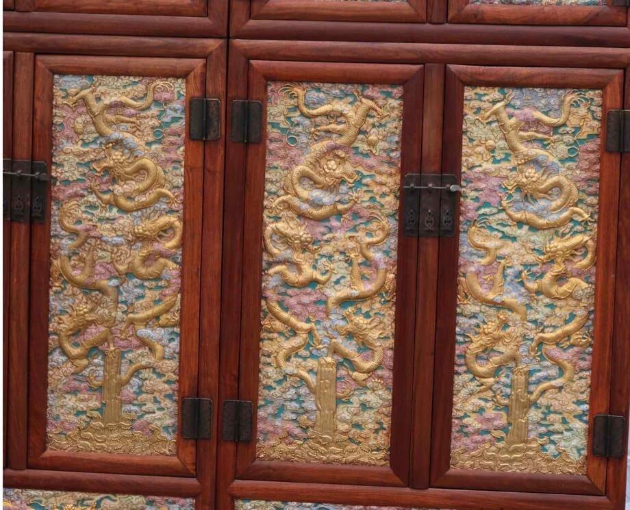 Huanghuali Engraving Dragon Cloisonne Trace gold Cabine - 3