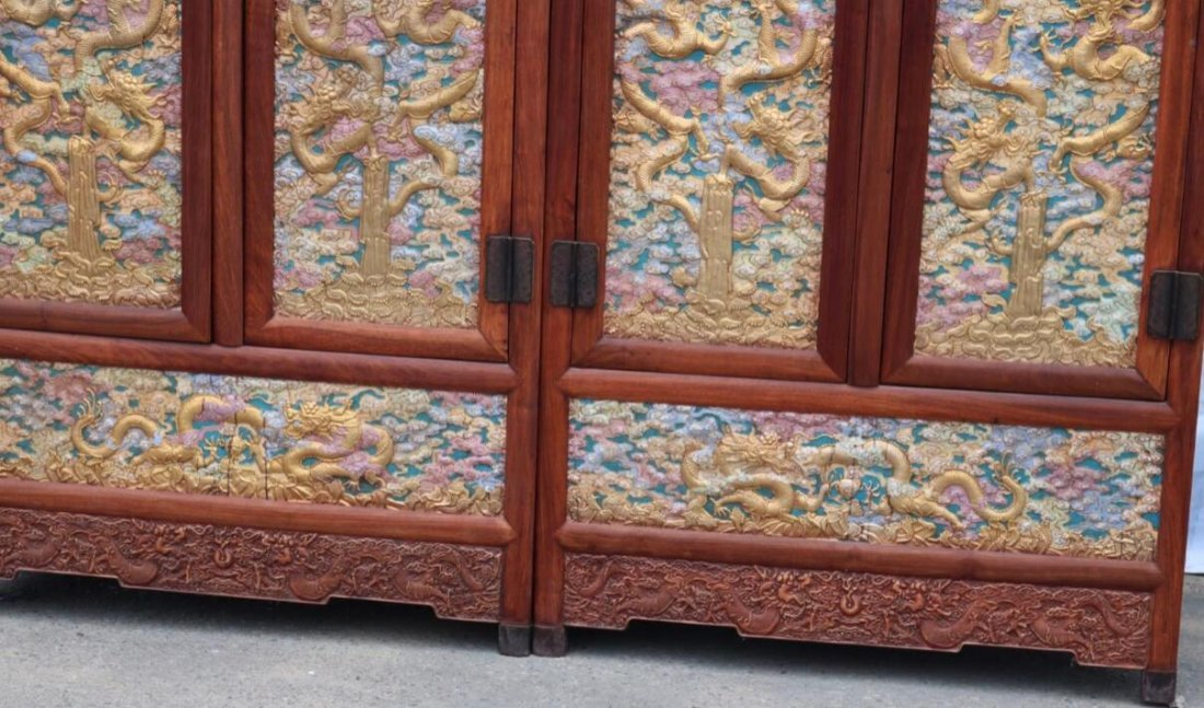 Huanghuali Engraving Dragon Cloisonne Trace gold Cabine - 4
