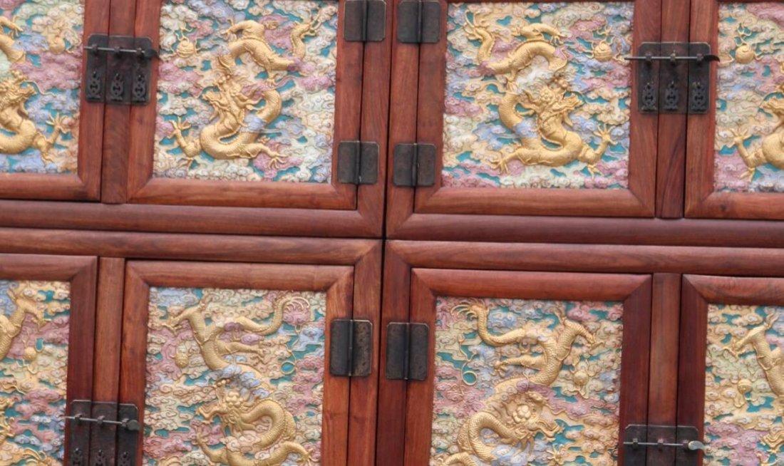 Huanghuali Engraving Dragon Cloisonne Trace gold Cabine - 5