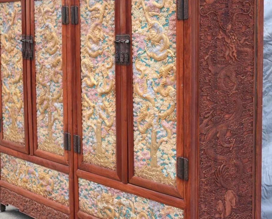 Huanghuali Engraving Dragon Cloisonne Trace gold Cabine - 6