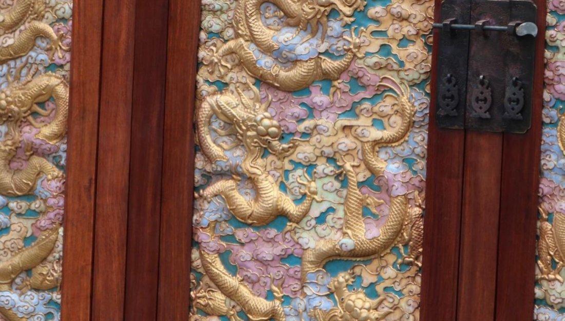 Huanghuali Engraving Dragon Cloisonne Trace gold Cabine - 7