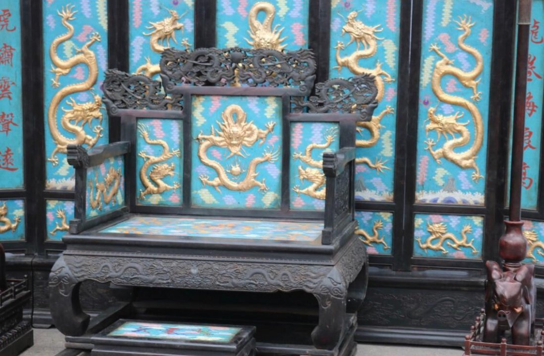 Red sandalwood carved dragon screen throne - 2