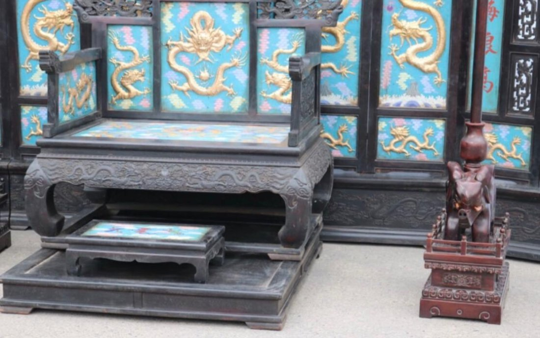 Red sandalwood carved dragon screen throne - 3