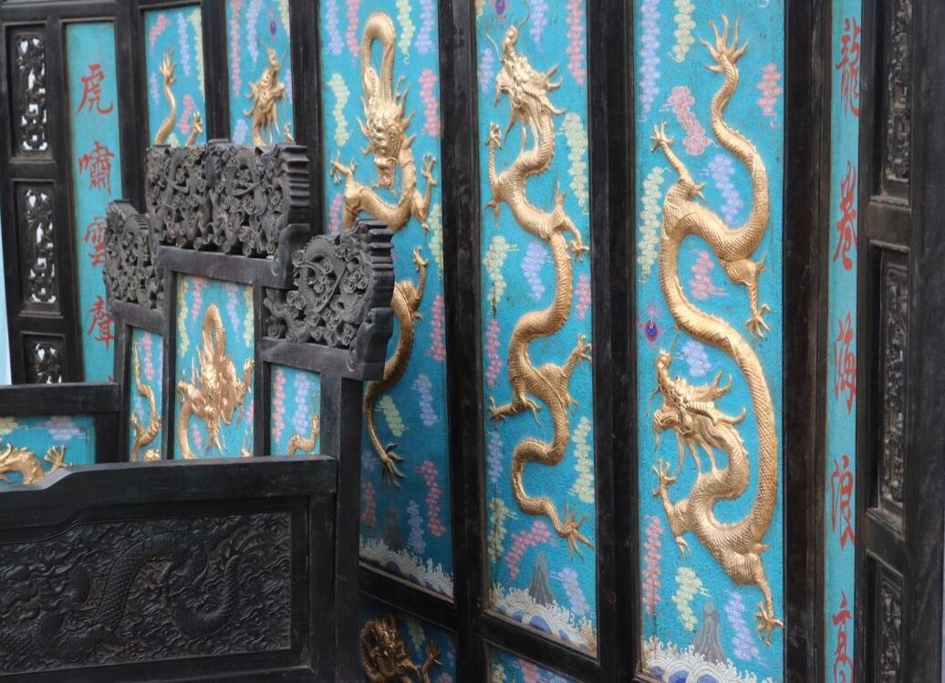 Red sandalwood carved dragon screen throne - 5