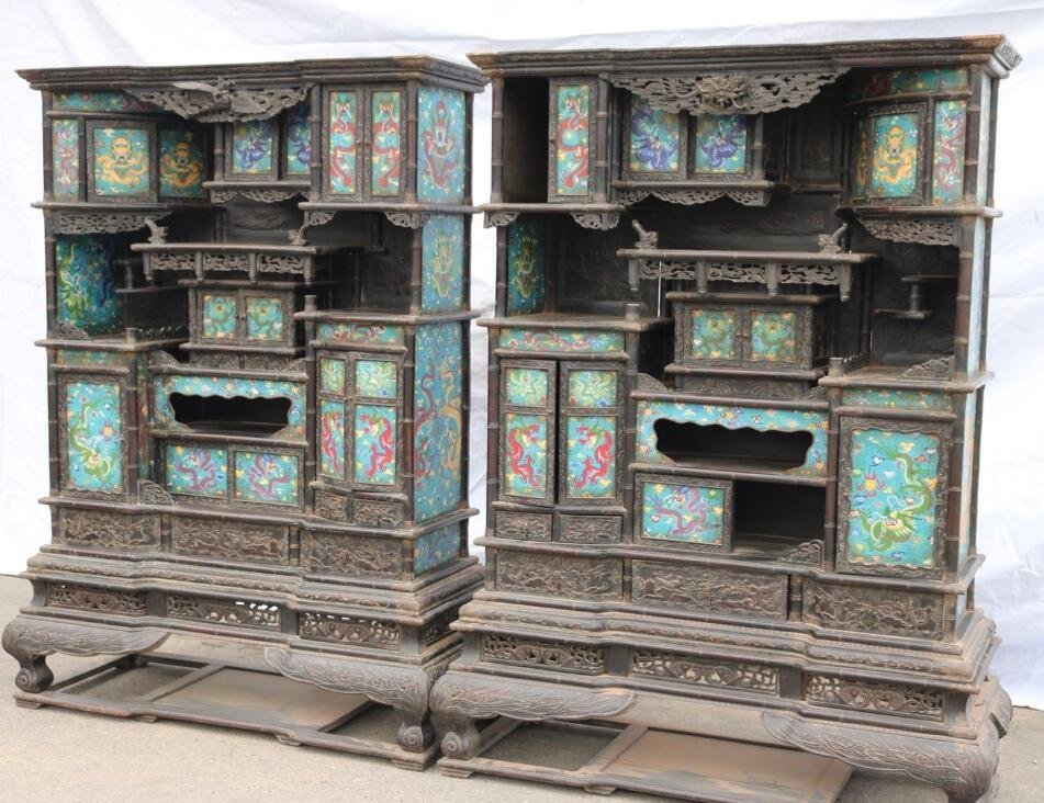 Qing Red sandalwood Cloisonne Shrine