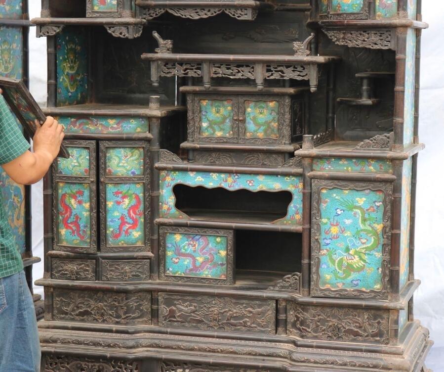 Qing Red sandalwood Cloisonne Shrine - 2