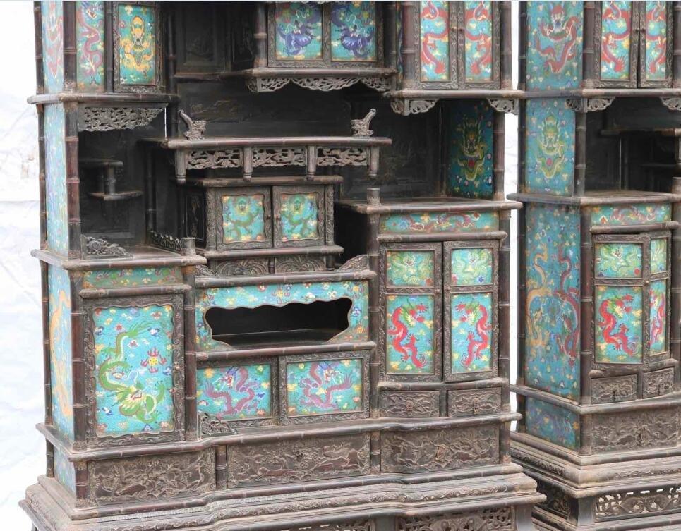 Qing Red sandalwood Cloisonne Shrine - 3