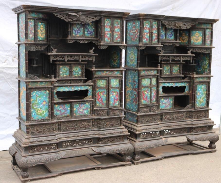 Qing Red sandalwood Cloisonne Shrine - 4