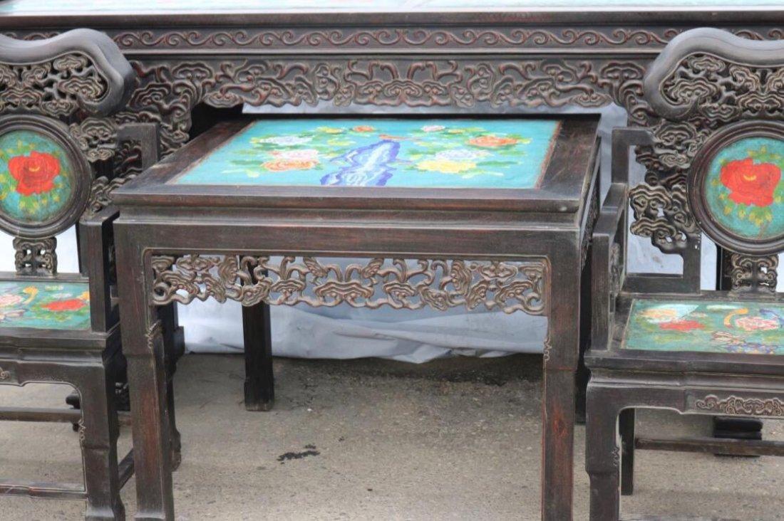Red sandalwood mosaic Cloisonne Four piece - 4