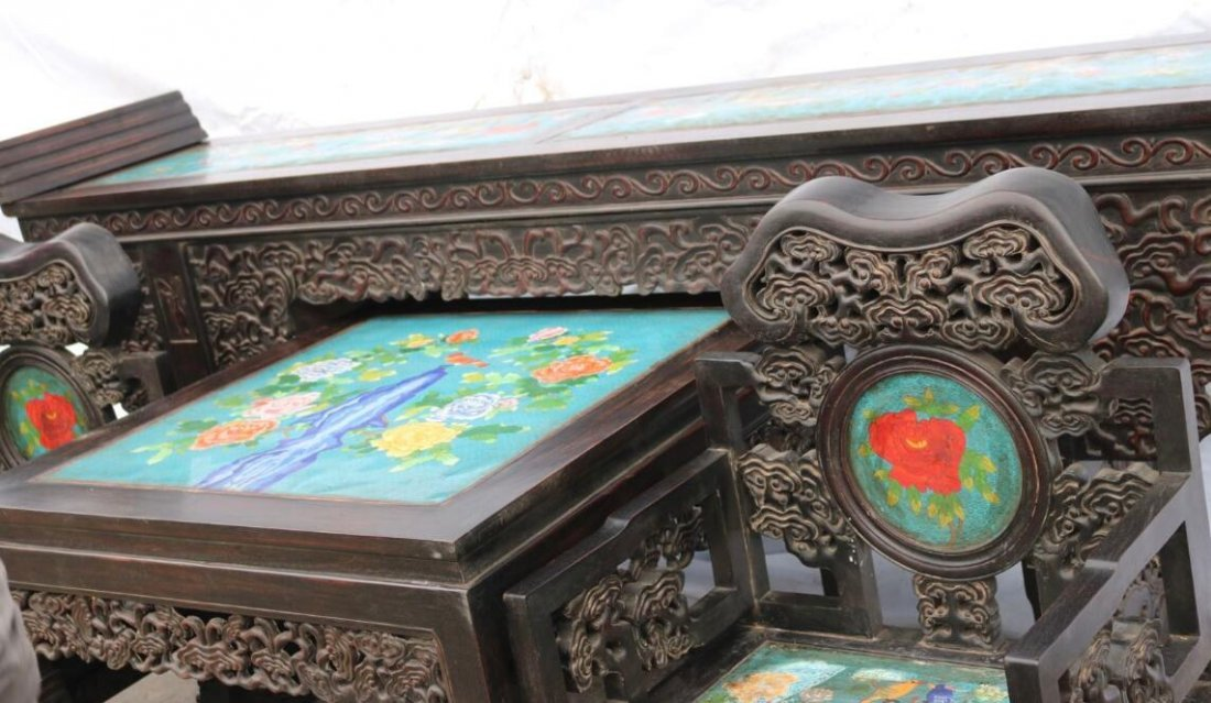 Red sandalwood mosaic Cloisonne Four piece - 5