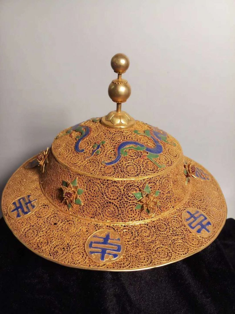 Silver gilt Dragon crown hat