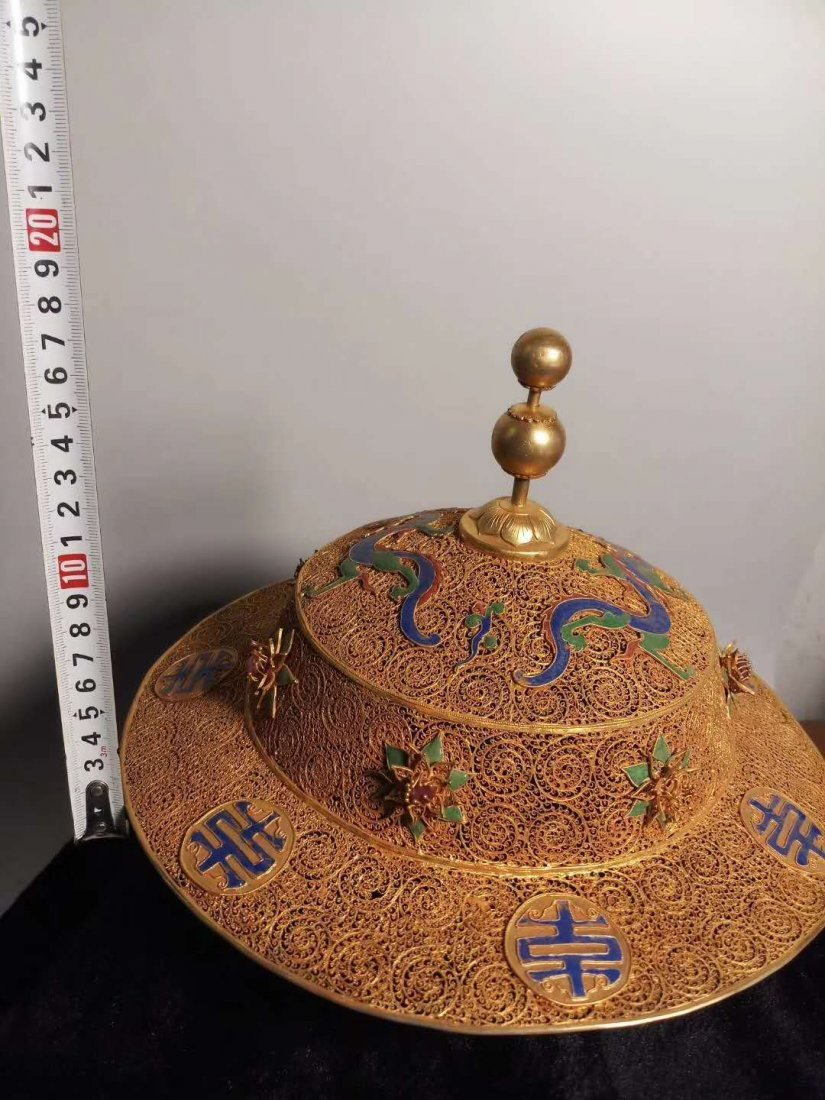 Silver gilt Dragon crown hat - 4