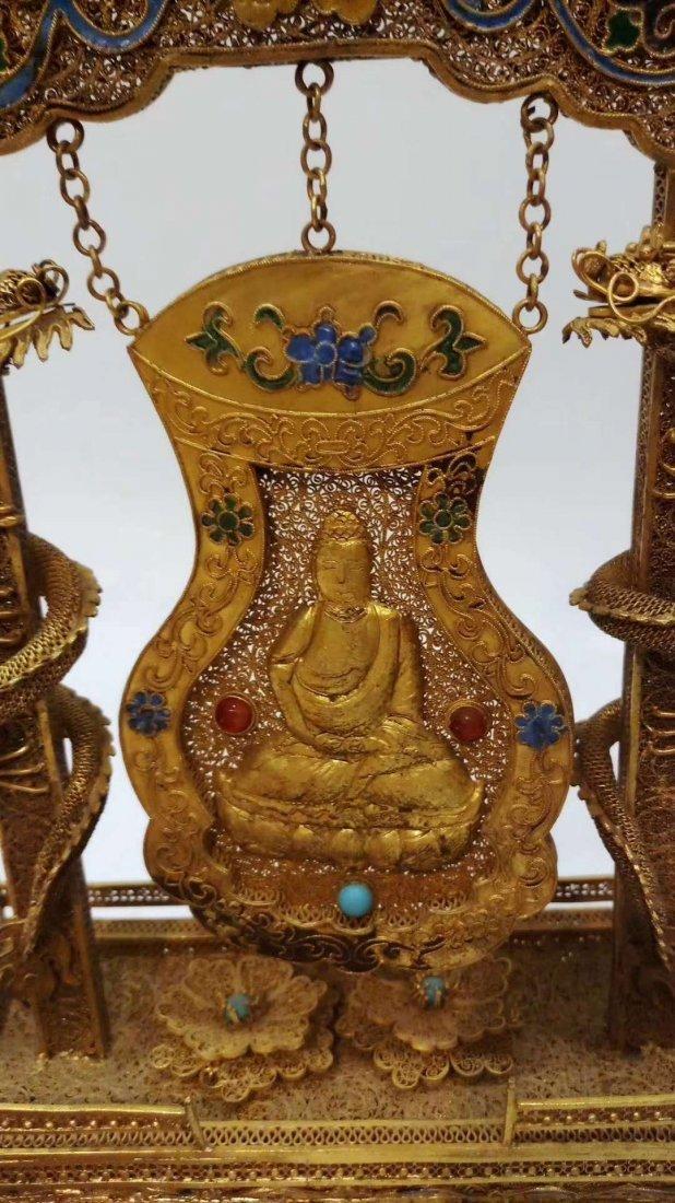 Silver gold-plated Buddha - 2