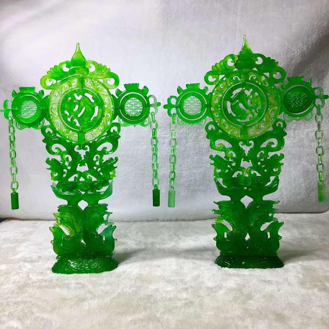 Emerald jade dragon and phoenix ornaments