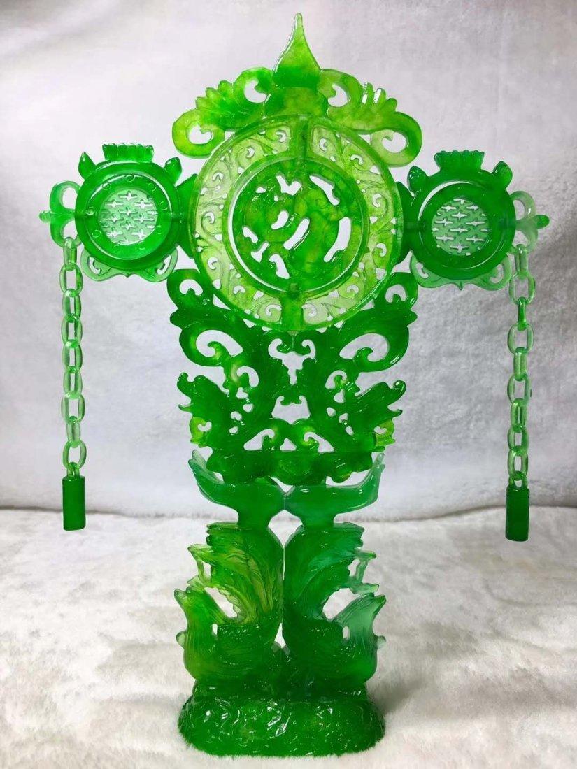 Emerald jade dragon and phoenix ornaments - 2